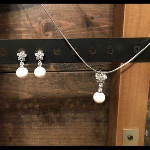 CZ and Pearl Necklace Set